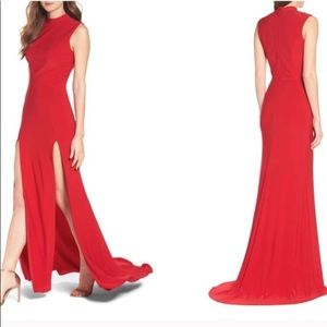 Ieena Mac Duggal Red Jersey Two Slit Gown